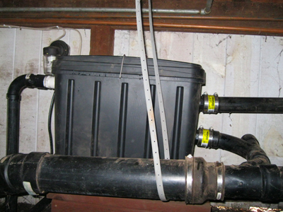 An Aqua2Use greywater system filters water from laundry, bath, shower, and lavatories to water landscaping.